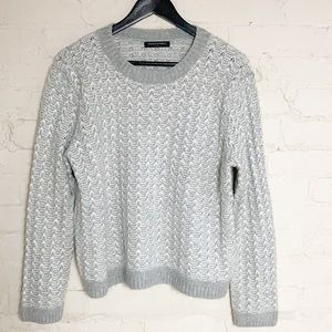 Banana Republic fuzzy white and gray sweater size l/large